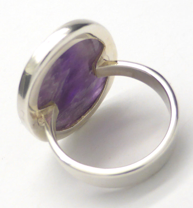 Oval Cabochon of Chevron Amethyst  | Simple 925 Sterling Silver Setting | US Size 5.6 | White Light Visualisation | Crystal Heart Melbourne Australia since 1986