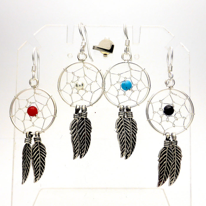 Dreamcatcher Earrings | 925 Sterling Silver | Oxidised Silver Feathers | Coral | Turquoise | Onyx |  Crystal Heart Melbourne Australia since 1986
