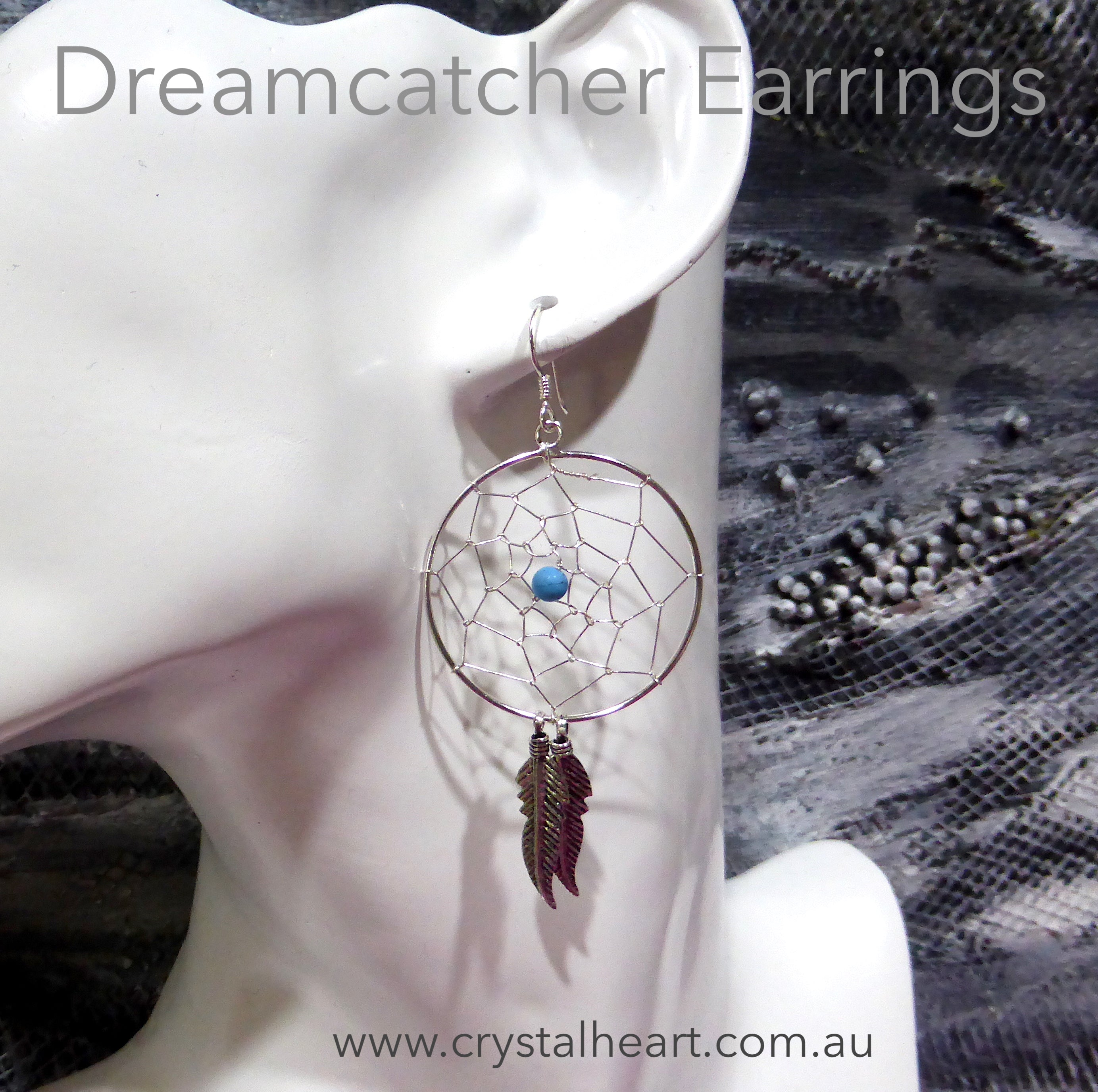 Dreamcatcher Earring | 925 Sterling Silver | Oxidised Silver Feathers | Turquoise Bead | Crystal Heart Melbourne Australia since 1986