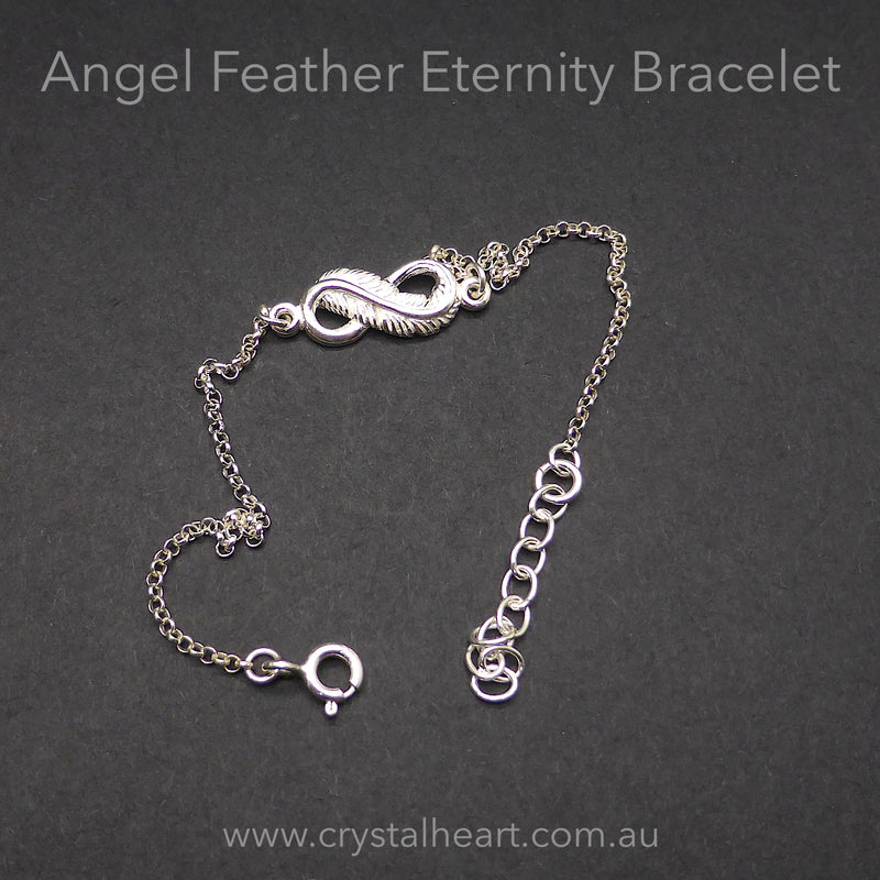 Bracelet 925 Sterling Silver Angel Feather Infinity Symbol | Crystal Heart Melbourne Australia since 1986