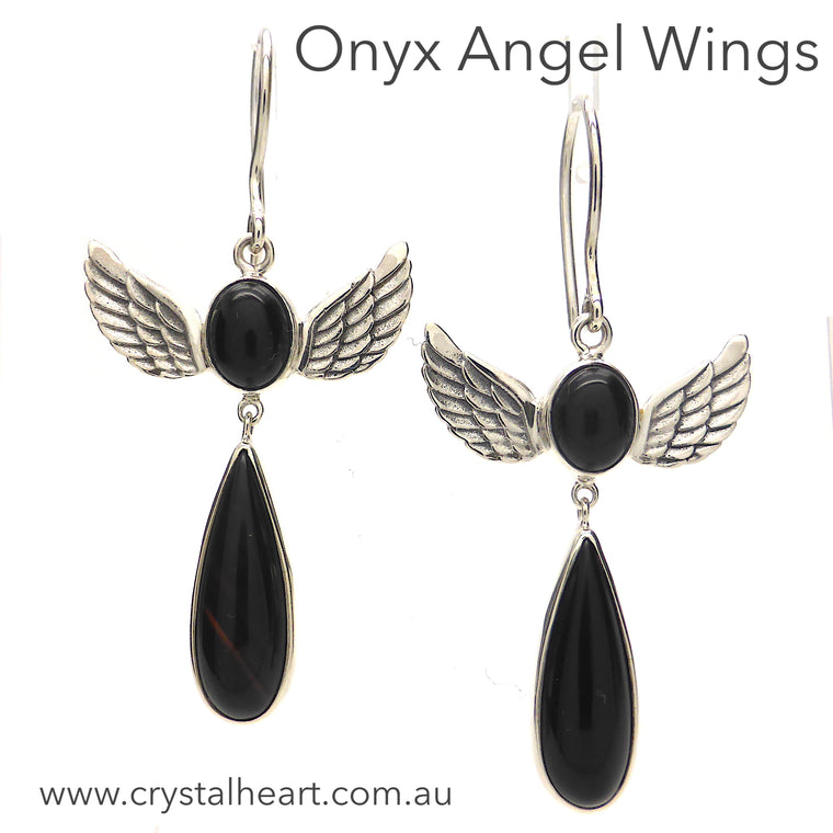 Black Onyx Earrings with Angel Wings, 925 Silver, kt1