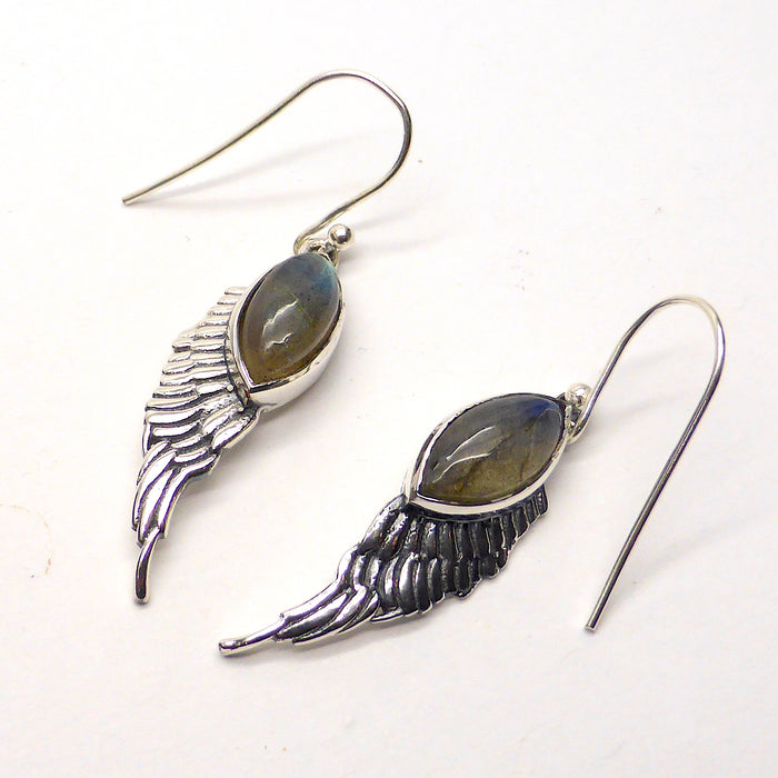 Labradorite Angel Wings Earring | 925 Silver | Marquise Cabochon with Silver Angel Wings | Crystal Heart Melbourne Australia since 1986