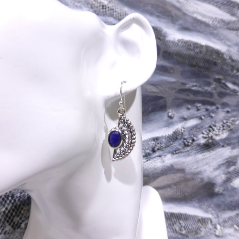 Lapis Lazuli Cabochon Earring | 925 Silver | Round Cabochon | Mystic Stone | Silver Spheres & Spiral Sunrays| Nice casual style | Crystal Heart Melbourne 1986