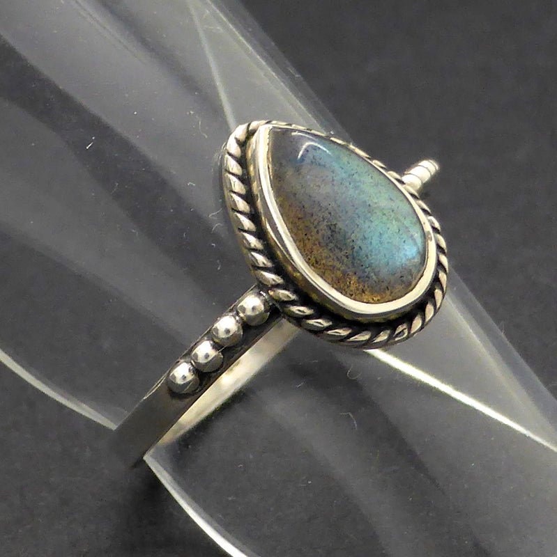 Small Labradorite Ring | Teardrop Cabochon | 925 Sterling Silver | Silver Rope & Ball detail | Size 5, 7, 9 | Crystal Heart Melbourne Australia since 1986