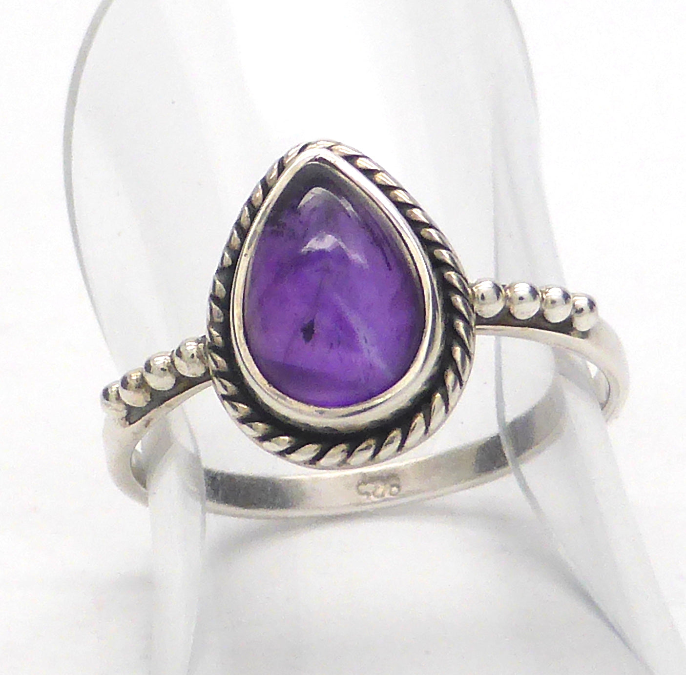 Amethyst Ring | Teardrop Cabochon | 925 Sterling Silver | Silver Rope & Ball detail | US Size 5, 7  | Crystal Heart Melbourne Australia since 1986