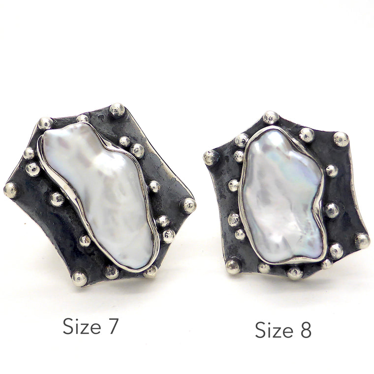 Gothic Freshwater Pearl Ring | 925 oxidised Silver ks1