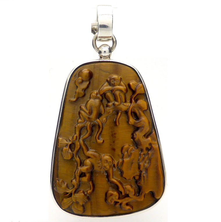 Tiger Eye Pendant Monkey Carving | 925 Silver