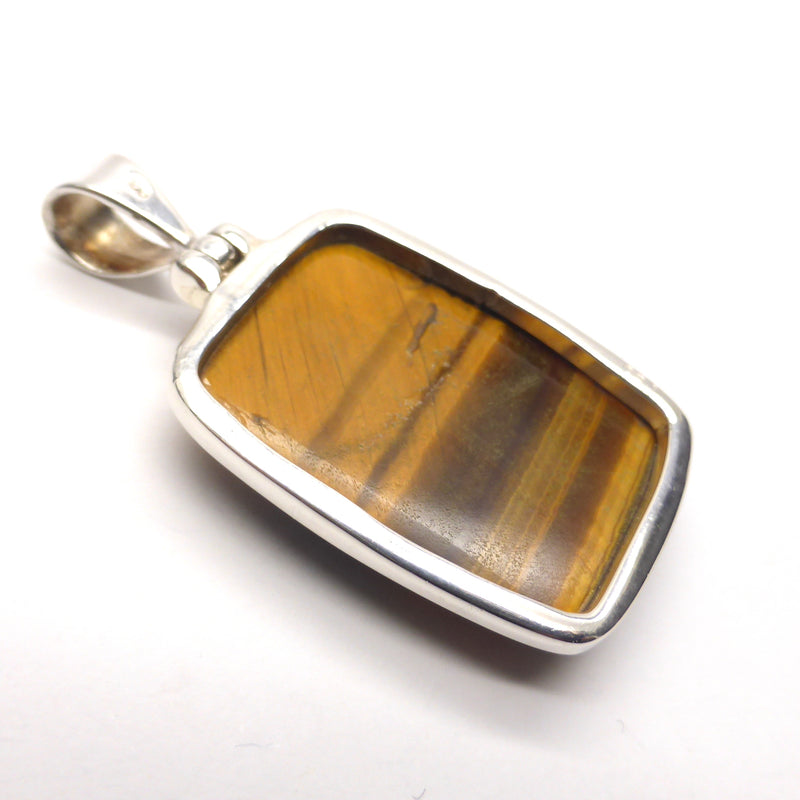 Tiger Eye Pendant | Teardrop Cabochon  | 925 Sterling Silver | Good Chatoyancy | Besel Set, fancy Hinged Bale | Mental & Emotional focus | Crystal Heart 1986