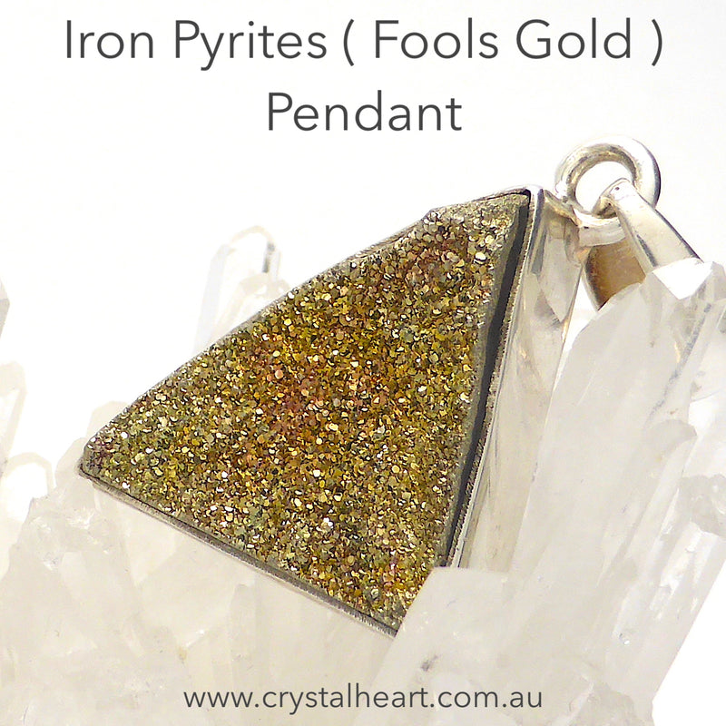 Iron Pyrite Cluster Pendant | AKA Fools Gold | 925 Silver | Small perfect Crystals | Practical Intuition | Heart Shield Protection |Crystal Heart Melbourne 1986