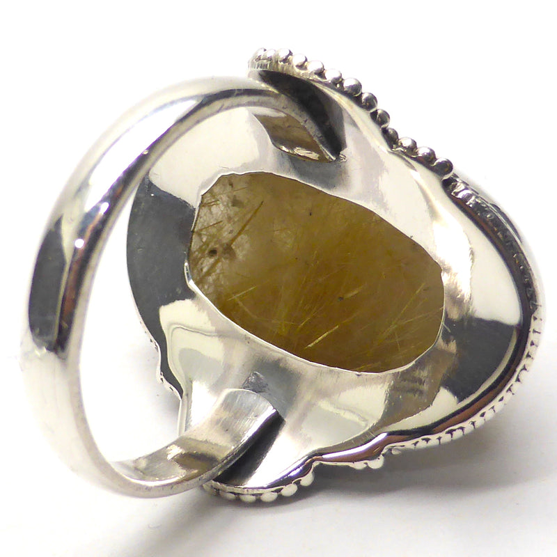 Genuine Rutilated Quartz Ring | 925 Sterling Silver | Antiques style | Size 10 | Angel's Hair in slightly smoky Quartz | Crown Chakra | New Directions | Prosperity | Crystal Heart  Australia since 1986