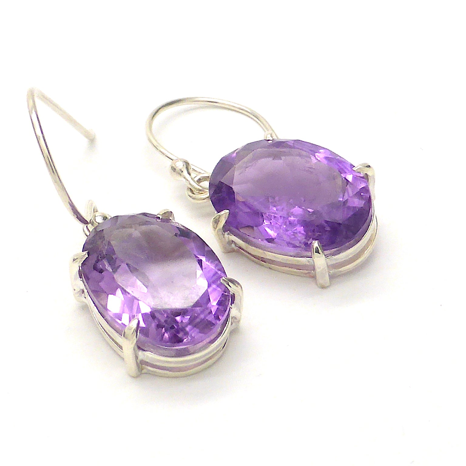 Amethyst Earrings | Faceted Ovals | 925 Sterling Silver | Secure claw setting side slots for light | Crystal Heart Australia since 1986