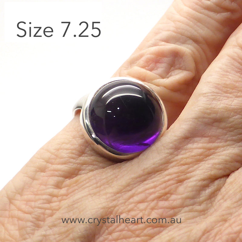 Amethyst Ring Round Cabochon | 925 Sterling Silver | US Size 7.25 | Meditation | Balance | Purifying | Aquarius Pisces | Crystal Heart Melbourne Australia since 1986