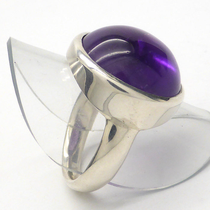 Amethyst Ring Round Cabochon | 925 Sterling Silver | US Size 8 | Meditation | Balance | Purifying | Aquarius Pisces | Crystal Heart Melbourne Australia since 1986