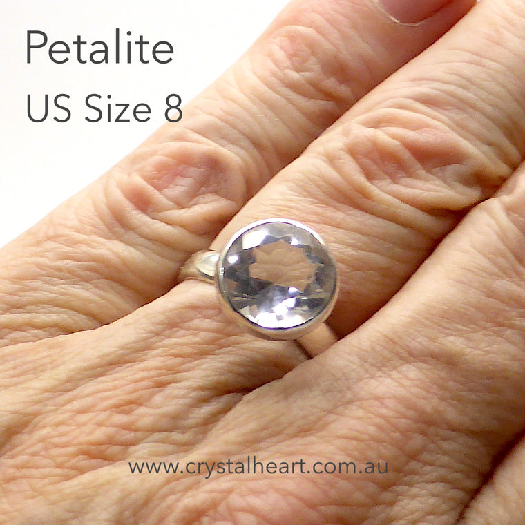 Petalite Ring, Faceted Clear Gemstone, 925 Silver kt