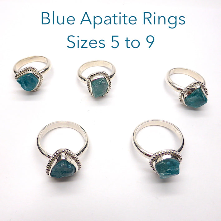 Apatite Raw Nugget Ring Neon Blue | 925 Silver E1