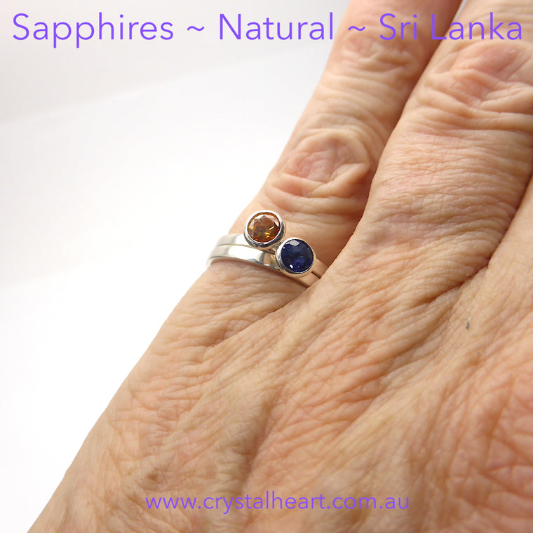 Sapphire Ring Faceted Round | Blue or Orange | 925 Silver p3