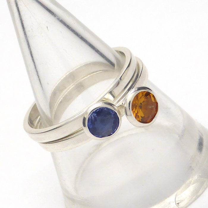 Sapphire Rings | Natural Sri Lanka | Orange Blue Brilliants | 925 Sterling Silver | Stackable rings | US Size 7.5 | Genuine Natural Untreated | Crystal Heart Melbourne Australia since 1986
