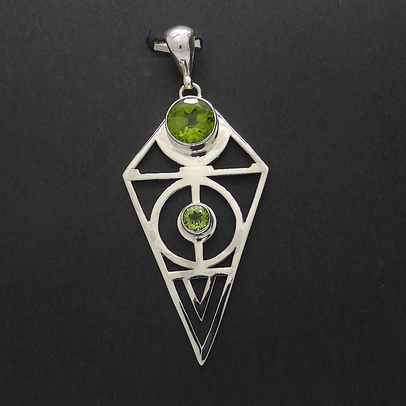 Peridot Pendant | Round faceted stones | 925 Sterling Silver | diamond Shape with Sacred Geometry | Leo Stone | Crystal Heart Melbourne Australia since 1986