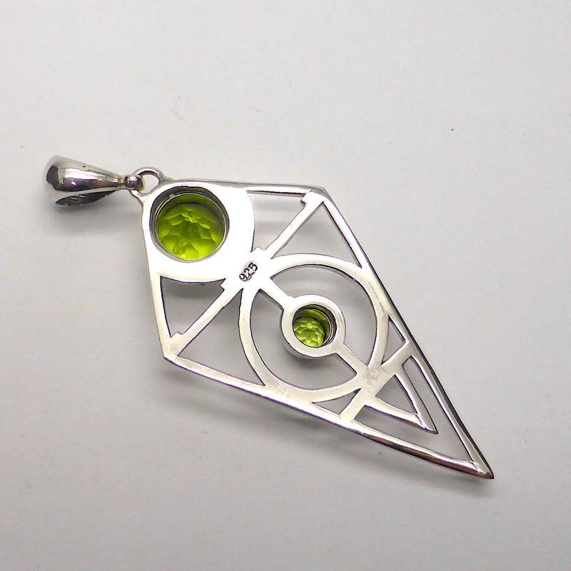 Peridot Pendant | Teardrop Faceted Stone | 925 Sterling Silver | Sacred Geometry | Leo Stone | Crystal Heart Melbourne Australia since 1986