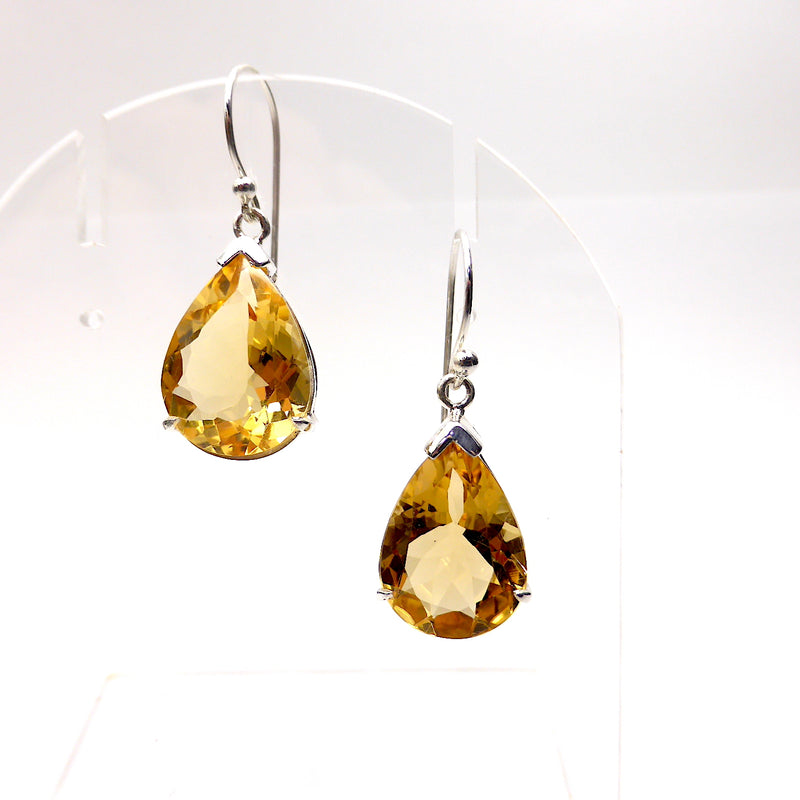 Citrine Earring Faceted Teardrops | 925 Sterling Silver | Flawless A Grade Stone | Abundant Energy Repel Negativity | Aries Gemini Leo Libra | Crystal Heart Melbourne Australia  since 1986