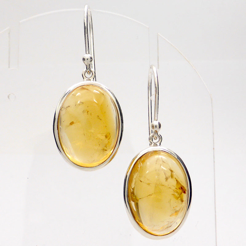 Citrine Earring Cabochon Oval | Large genuine stones with some inclusions | 925 Sterling Silver | Abundant Energy Repel Negativity | Aries Gemini Leo Libra | Crystal Heart Melbourne Australia  since 1986