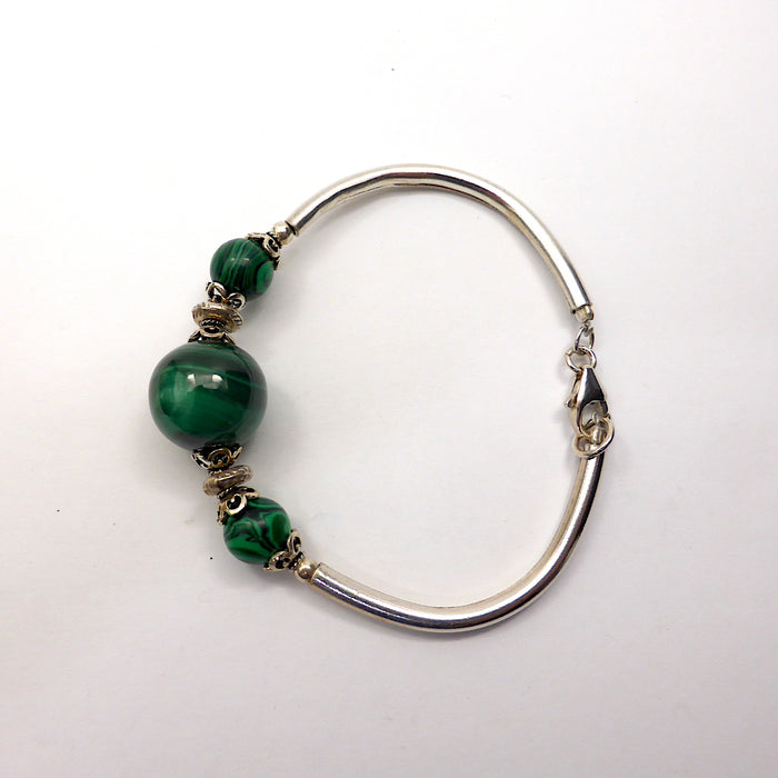 Malachite Bracelet | 925 Sterling Silver | Malachite beads threaded on Tiger tail | Silver Tubes clasp & Findings | Crystal Heart Melbourne Australia since 1986