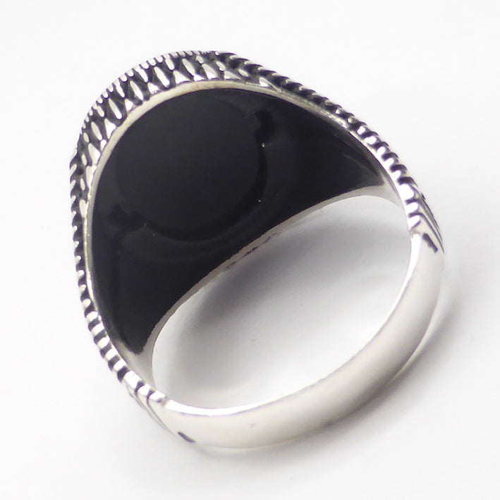 Ring Black Onyx Cobra or Claw design | Large Size 11.5 | 925 Silver | Wisdom Protection Empowerment | Leo Stone | Crystal Heart Melbourne Australia since 1986