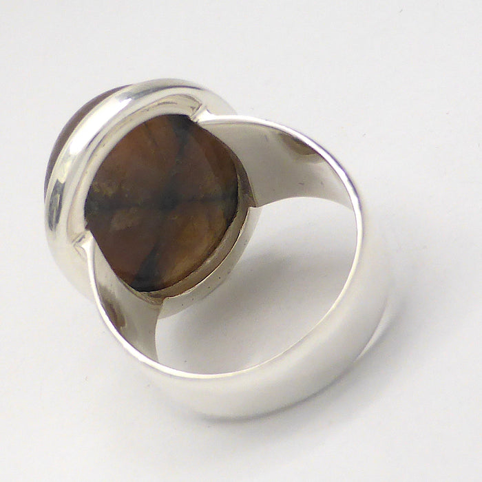 Chiastolite Ring | Oval Cabochon | 925 Sterling Silver | US Size 7.75 | Andalusite Variety | Protection for Travellers | Centred Strength | Crystal Heart Melbourne Australia since 1986