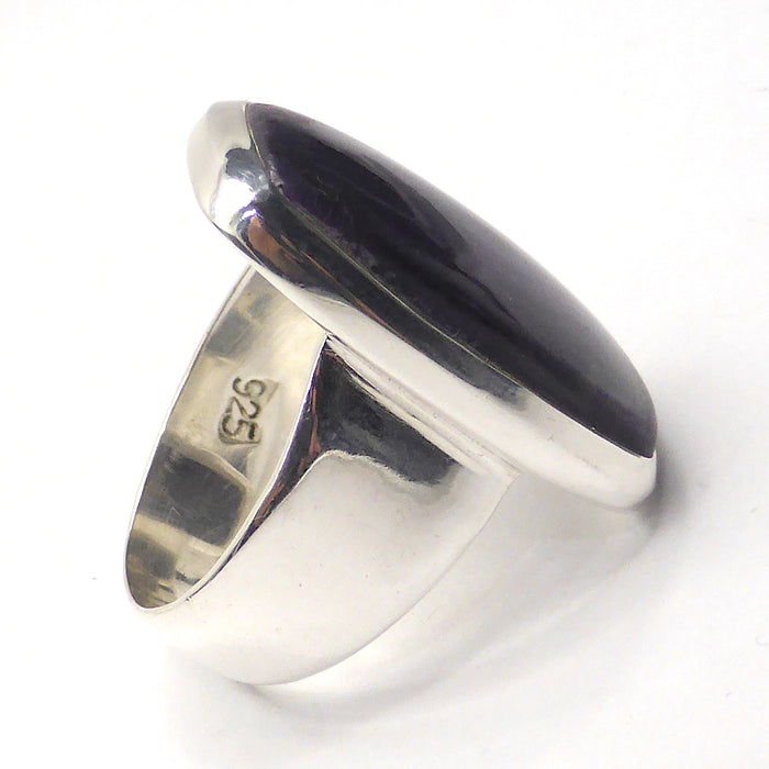 Sugilite or Luvulite Ring | Oblong Cabochon | Wide Shank | 925 Sterling Silver | Size 5.75 | Genuine S. African Natural Stone | Activate Spiritual Vision | Crystal Heart Melbourne Australia since 1986 | Prof Sugi | Mt Fuji Japan 1947 | S.Africa 1986