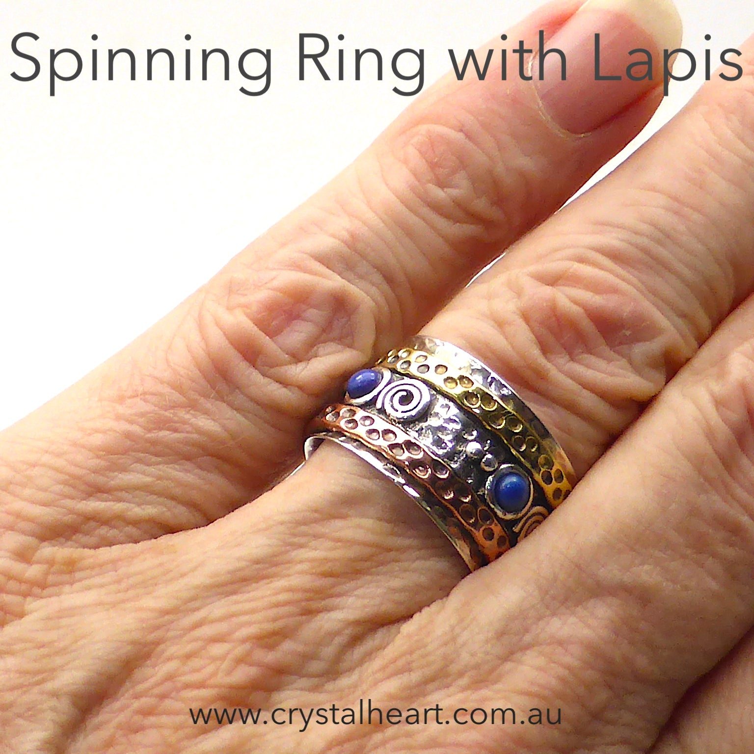 Lapis Lazuli Spinner Ring | 925 Sterling Silver | Textured surfaces | 3 Tones | Silver Copper and gold plate | 4 small Lapis Lazuli Cabs | Crystal Heart Melbourne Australia since 1986