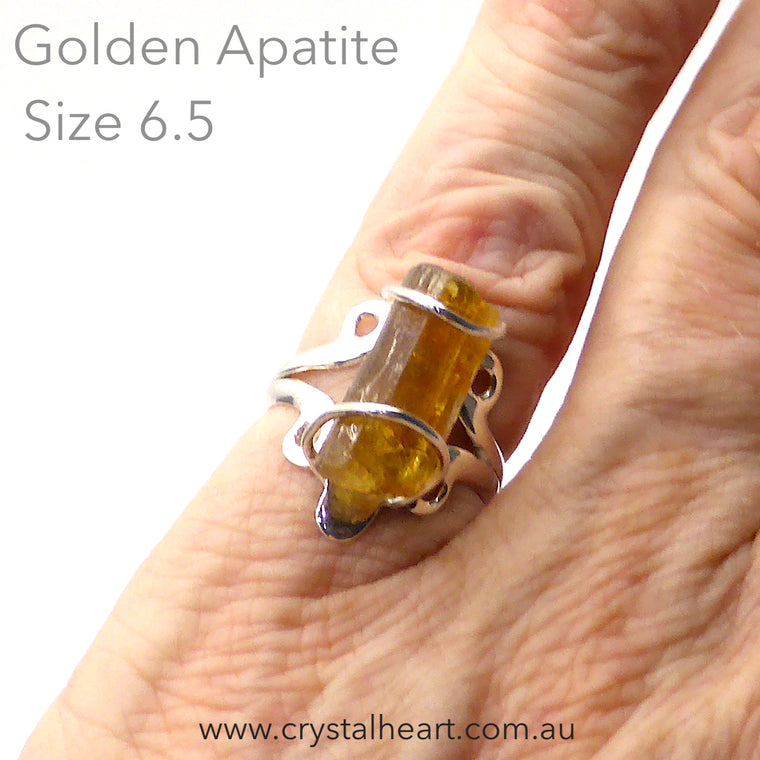 Golden Apatite Crystal Ring | 925 Silver