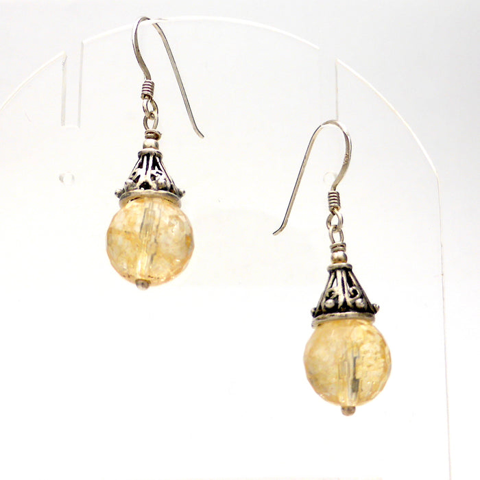 Citrine Faceted Bead Earrings | 925 Sterling Silver | Oxidised Silver Caps | Leo | Hand made | Fair Trade | Prosperity | Positivity  | Crystal Heart Melbourne Australia since 1986
