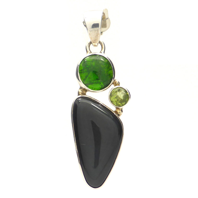 Chrome Diopside, Obsidian, Peridot Pendant | 925 Silver