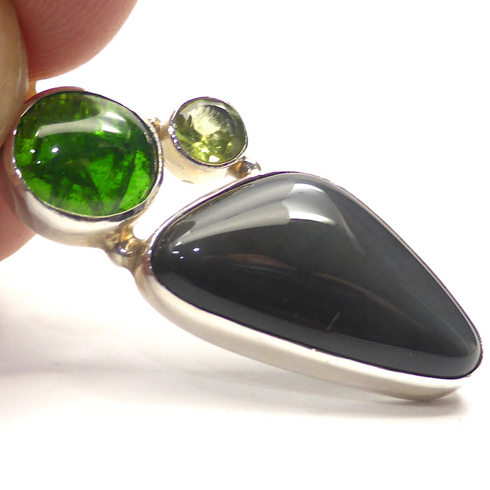 Chrome Diopside Pendant | Gold Sheen Obsidian | Faceted Peridot Peridot | 925  Sterling Silver | Powerful Transformation Package | Crystal Heart Melbourne Australia since 1986