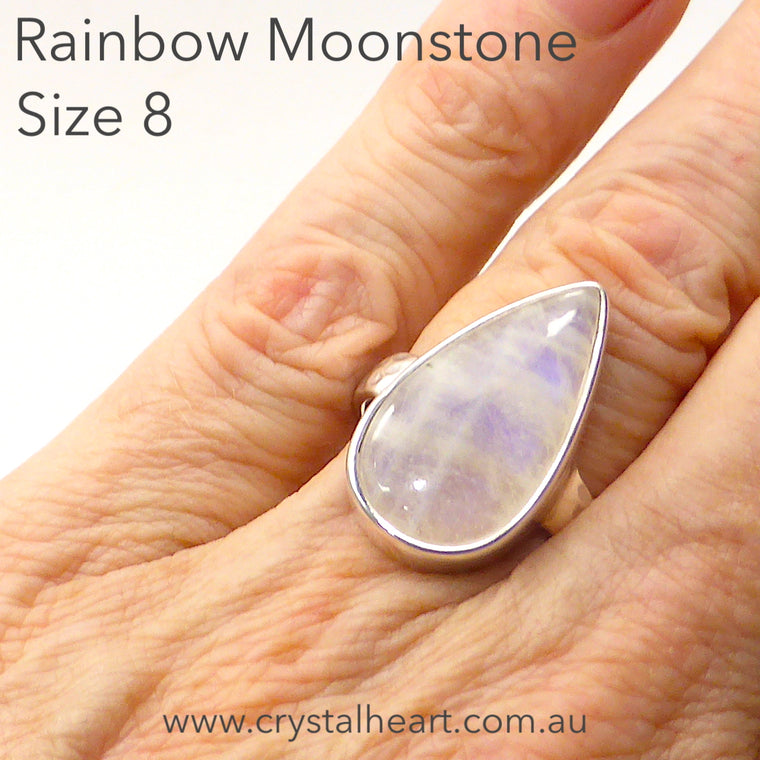 Moonstone Ring Teardrop Cab, 925 Silver pa