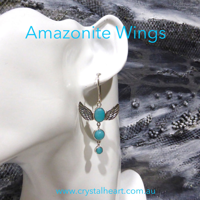 Amazonite Earrings Silver Wings kt