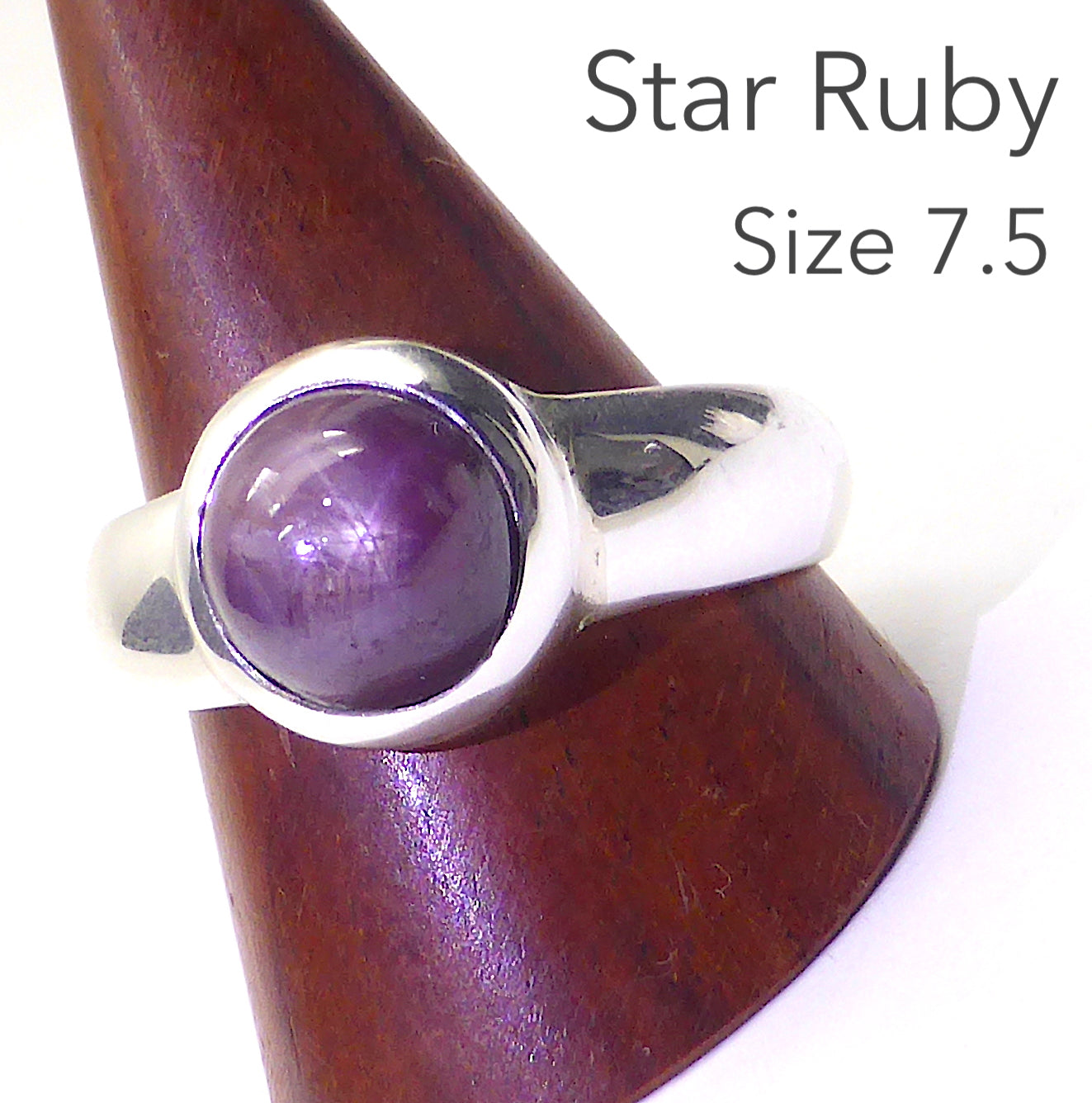 Star Ruby Ring | Genuine stone | Lovely deep red | clear star | 925 Sterling Silver | US Size 7.5  | Leo Star Stone | Crystal Heart Melbourne Australia since 1986