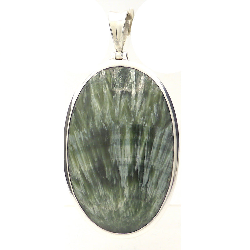Seraphinite Pendant Oval Cabochon | 925 Sterling Silver | Clinochlore | Energise Unlobck Regenerate | Chronic Fatigue | Birthing | Crystal Heart Melbourne Australia since 1986