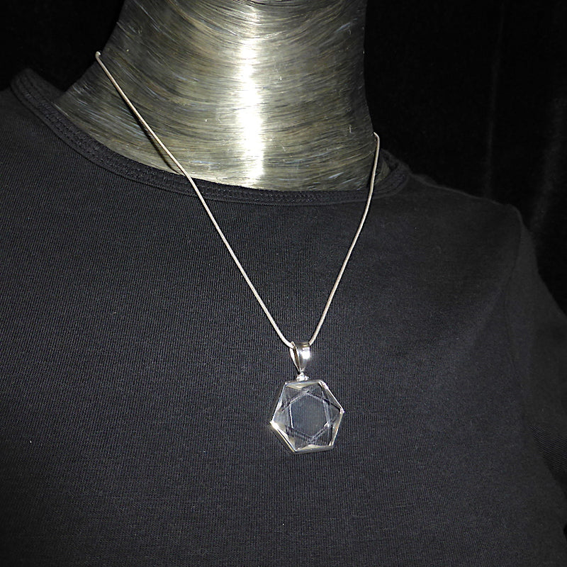 Star of David Pendant | Clear Quartz Crystal | 925 Sterling Silver | Clear Quartz Carved with interlocking fire & Water Triangles | Alchemical Marriage Male & Female | Wisdom and Knowledge | Balanced Empowerment | Crystal Heart Melbourne Australia since 1986