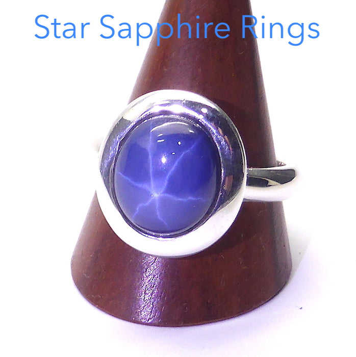 Star Sapphire Ring in 925 Sterling Silver | Clear Star | 925 Sterling Silver | US Size 6,7,8,9 | Virgo Star Stone | Crystal Heart Melbourne Australia since 1986