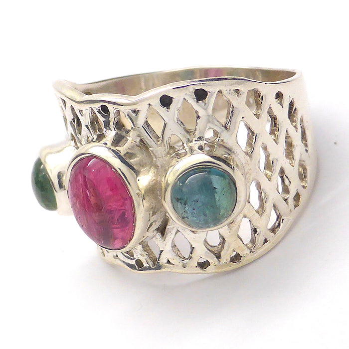 Ring with genuine red and green Tourmalines |  925 Sterling Silver |US Size 8 | Crystal Heart Melbourne Australia since 1986