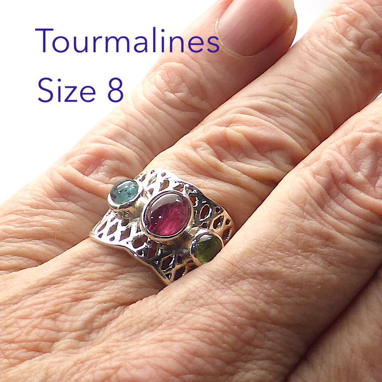 Tourmaline Ring | Pink Blue Green Cabs | 925 Silver g1