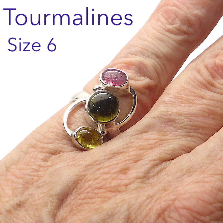 Tourmaline Ring | Green Gold Pink Cabs | 925 Silver ij2