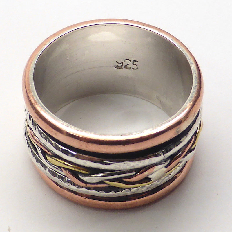 Spinning Ring 3 tone colour | 925 Sterling Silver| Rose & Yellow plated spinning bands | Celtic knotwork | Simple Classic | Crystal Heart Melbourne Australia since 1986