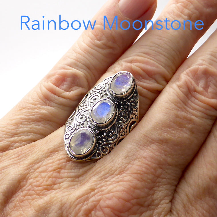 Moonstone Ring, 3 Faceted Ovals, Detailed 925 Silver