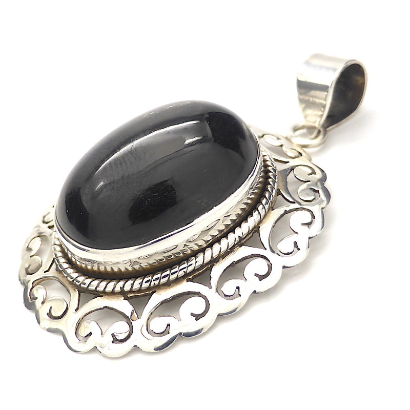 Black Star Diopside Pendant | Star of India | Oval Cabochon | 925 Silver | Decorative Silver Filigree Border | Genuine stone | RIGHT ACTION | Mental Focus | Virgo | Crystal Heart Melbourne Australia since 1986