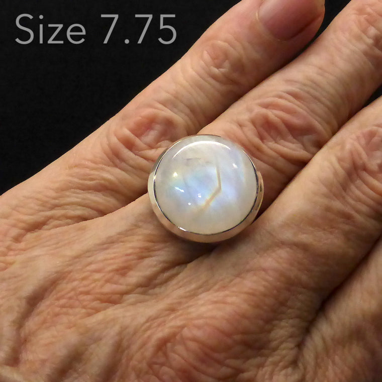 Moonstone Ring Round Cab | 925 Silver g9