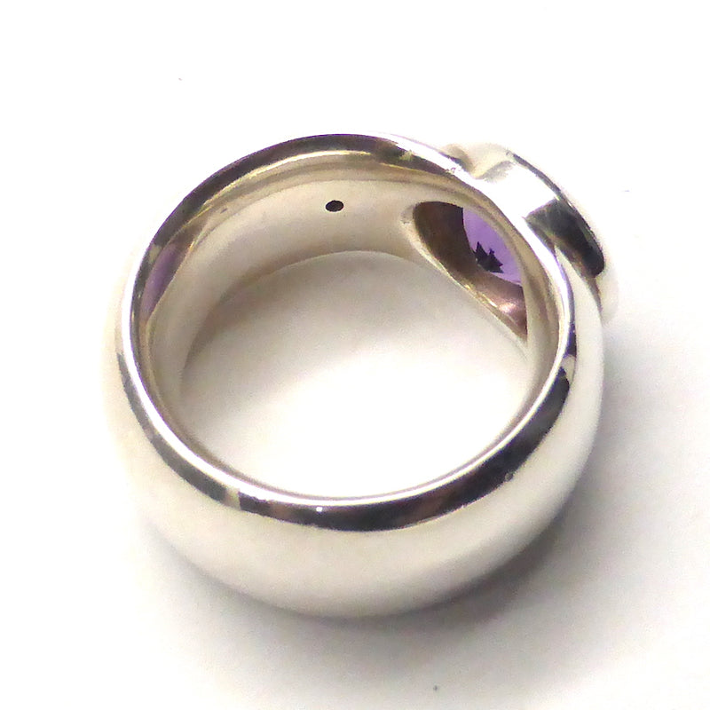 Amethyst Ring | Faceted Oval | 925 Silver dk