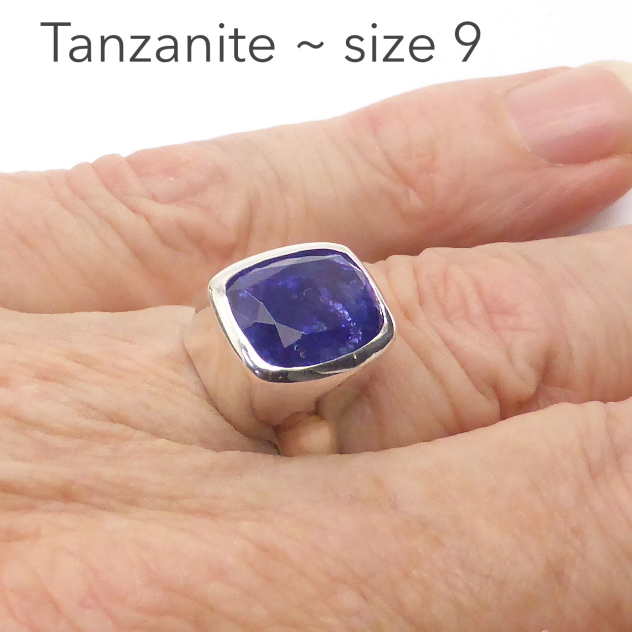 Large Genuine Tanzanite Ring | 8 Carat | Faceted Oblong | 925 sterling Silver | Size 9 | Lovely Blue Violet Fire | Some inclusions | Mt Kilimanjaro | Crystal Heart Australia since 1986