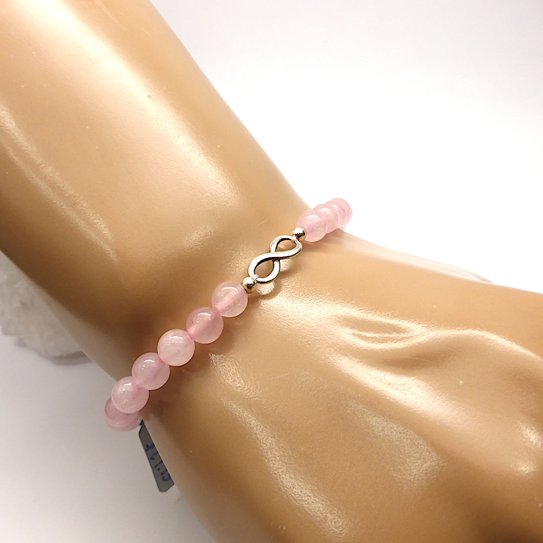 Eternal Love | Rose Quartz Bead Stretch Bracelet |  925 Silver Infinity Symbol | 6 mm beads |Crystal Heart Melbourne Australia Gemstones and More since 1986